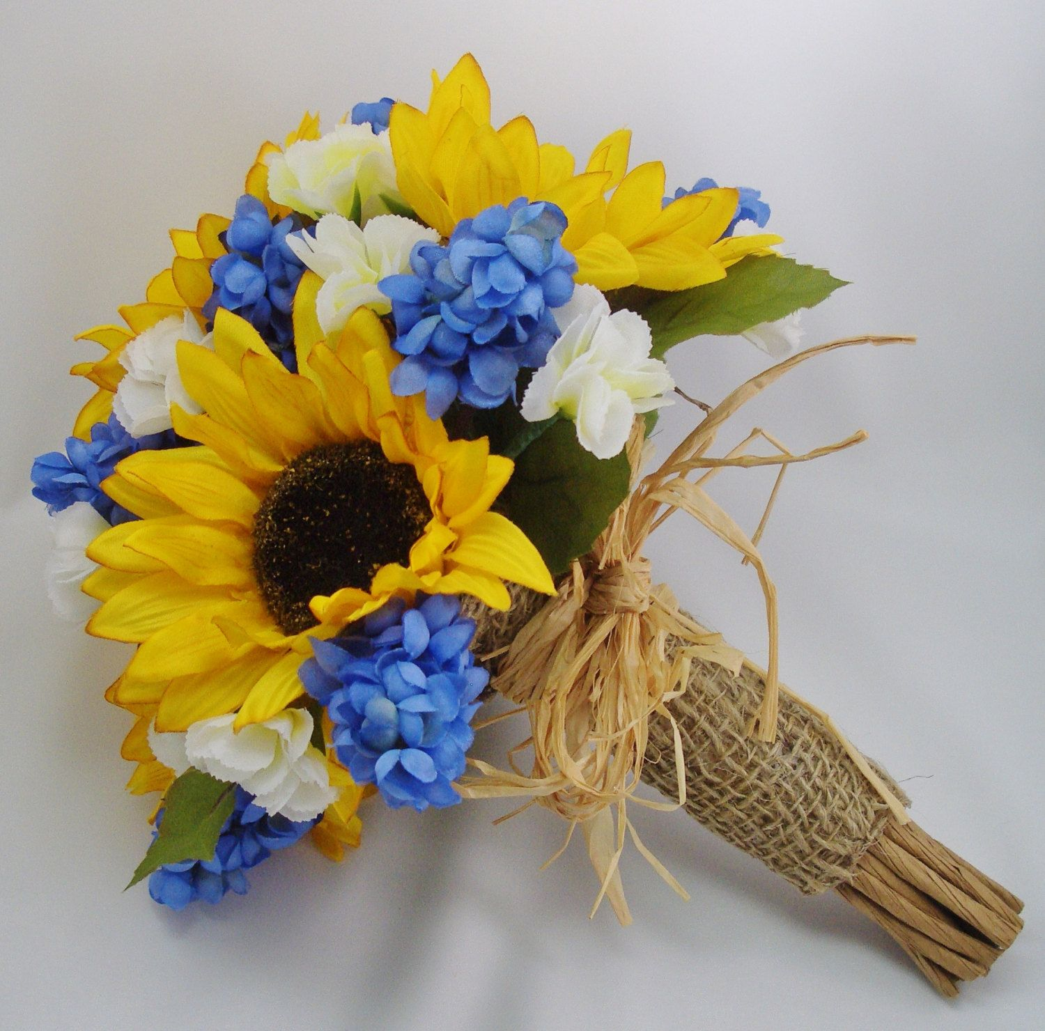 sunflower bouquet with blue hyacinth rustic wedding flowers straw and burlap accents