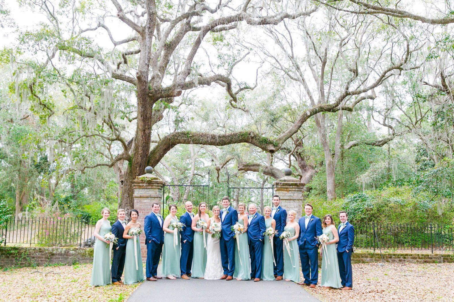 Sage Green Bridesmaid Dresses Groomsmen In Blue Suits Pastel Garden Wedding At Legare War Blue Groomsmen Sage Green Bridesmaid Dress Sage Bridesmaid Dresses