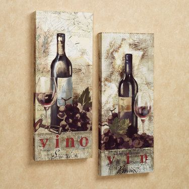 Vino Wine Grapes Giclee Canvas Wall Art Set Decor Pinterest