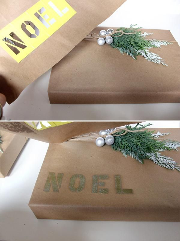 Wrapping Idea: A brown paper package with a noel stencil!
