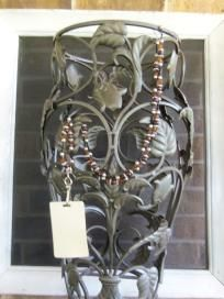 Black Brown Wood Bead Lanyard. $15.00