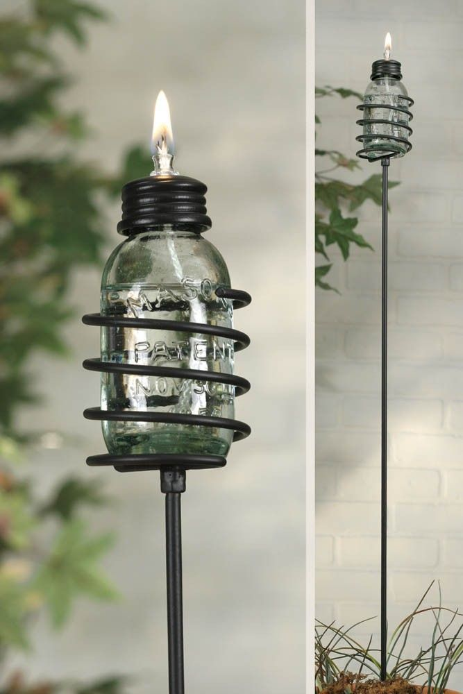 "CTW Mini Mason Jar Oil Lamp Garden Stake (Pack Of 6) 830085 - CTW Mini Mason Jar Oil Lamp Garden Stake (Pack Of 6) 830085Includes the stake and the small oil lamp. Lamp measures 1.5 wide and 3.5 tall. Stake is 26"" tall. Burn time depends on lamp oil used. Lamp oil is not included.SKU: 830085Manufacturer: CTW HomeCategory: GardenSub Category -1: Garden Stakes"