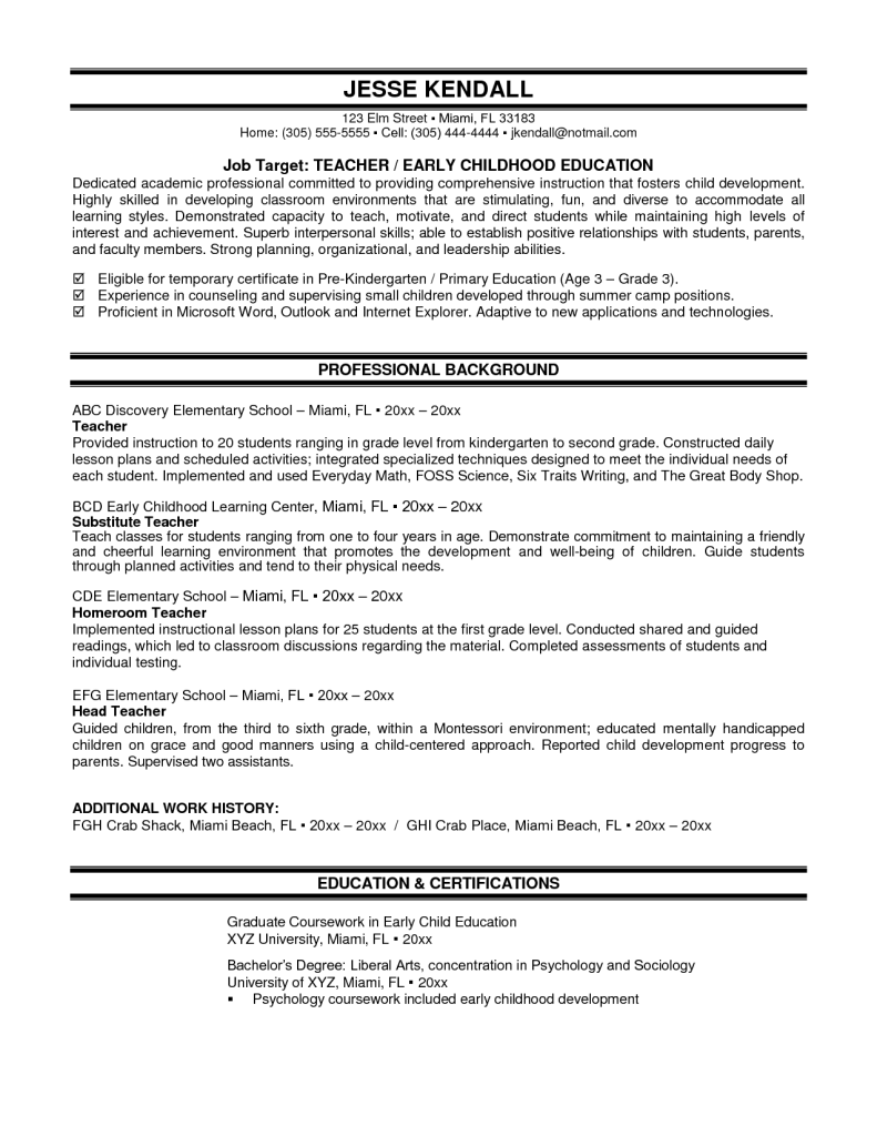 sample resume teaching position inspiration decoration education cover letter jesse kendall job target teacher early childhood - Sample Resume For Teachers Job