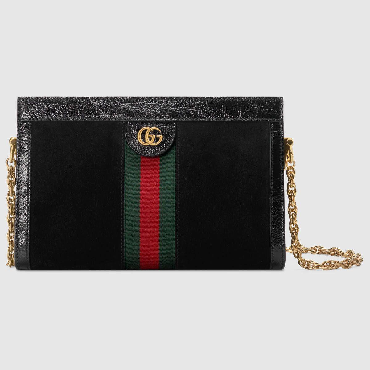 c951de7a14acb Compra ahora Bolso de Hombro Ophidia Pequeño de Gucci. Elaborado en ante  negro con incrustación