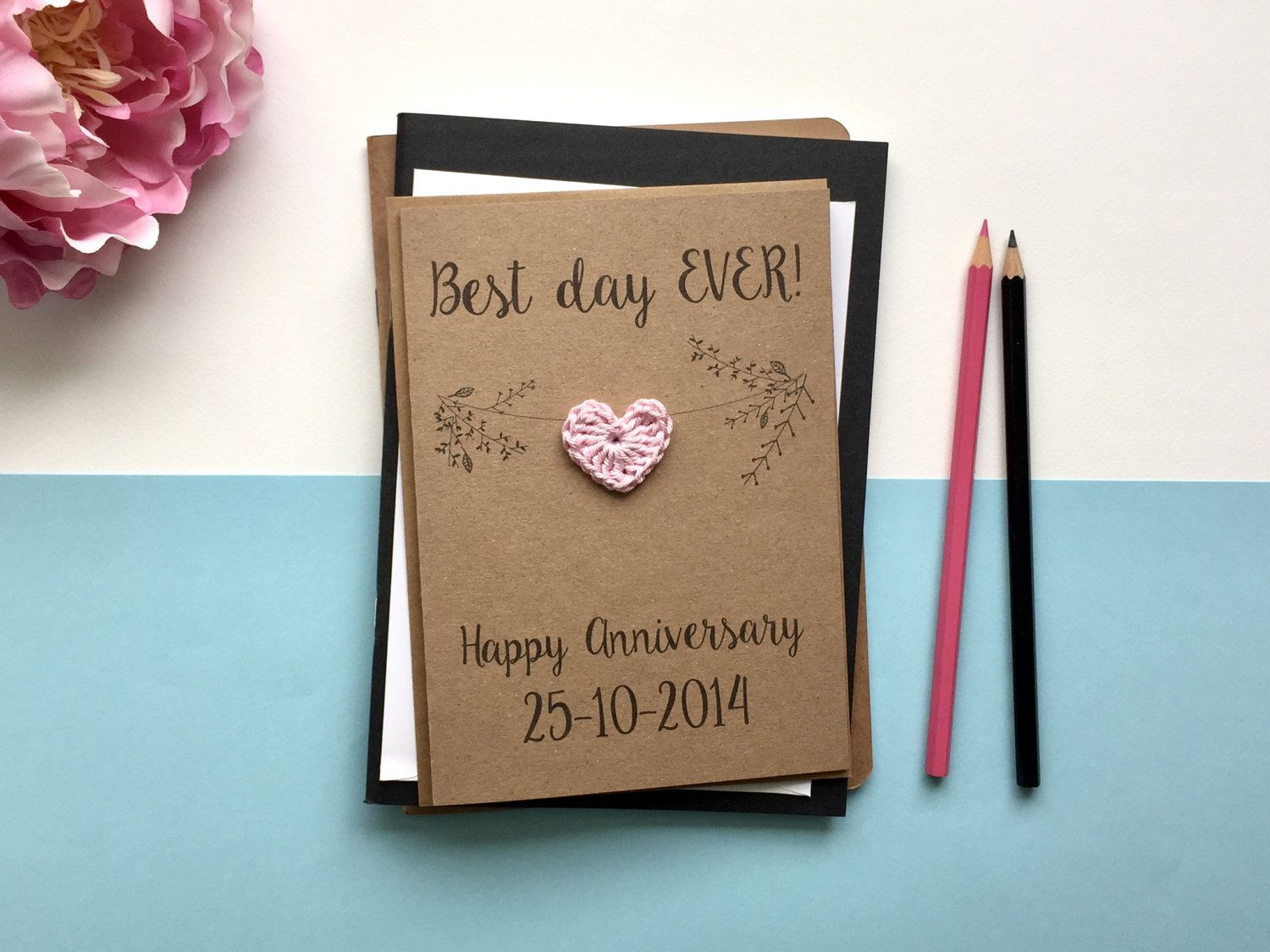 Anniversary Card Best Day Ever Card For Wife Card For Husband Wedding Anniversary Card Brown Wedding Anniversary Cards Anniversary Cards Unique Cards