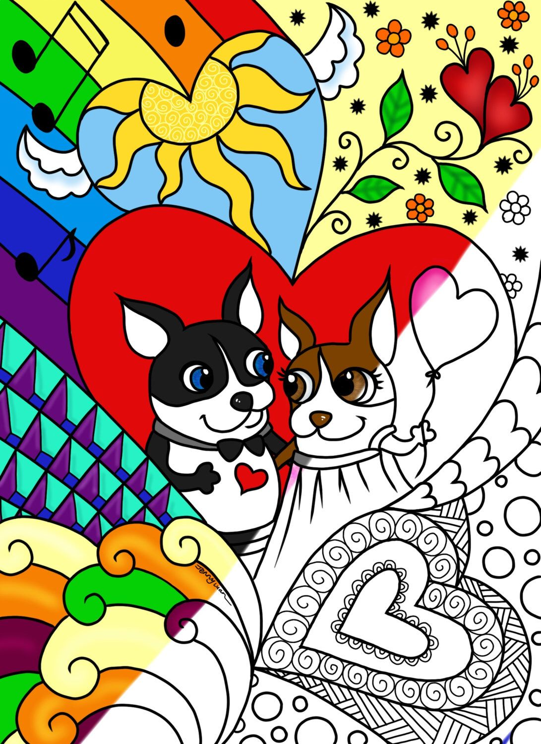 cute Boston Terriers and Hearts zendoodle coloring page by ...