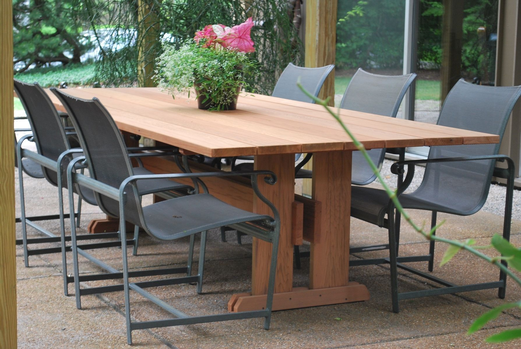 Excitingpatiofurnituredesignwithbrownwoodenrectangledining - Outdoor wood rectangular dining table