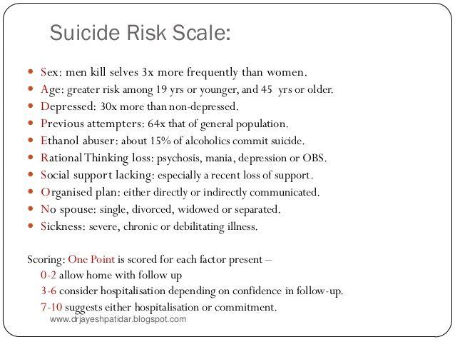 Suicide Risk Assessment Suicide assessment and management - risk assessment