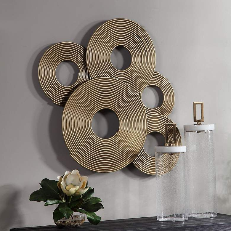 Uttermost Ahmet 34 3 4 W Layered Rings Gold Metal Wall Art 73k23 Lamps Plus Gold Metal Wall Art Modern Metal Wall Art Uttermost Wall Art