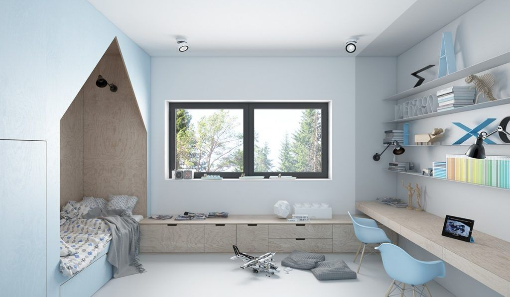 3d ontwerpen van een mooie babyblauwe kinderkamer enterijeri za