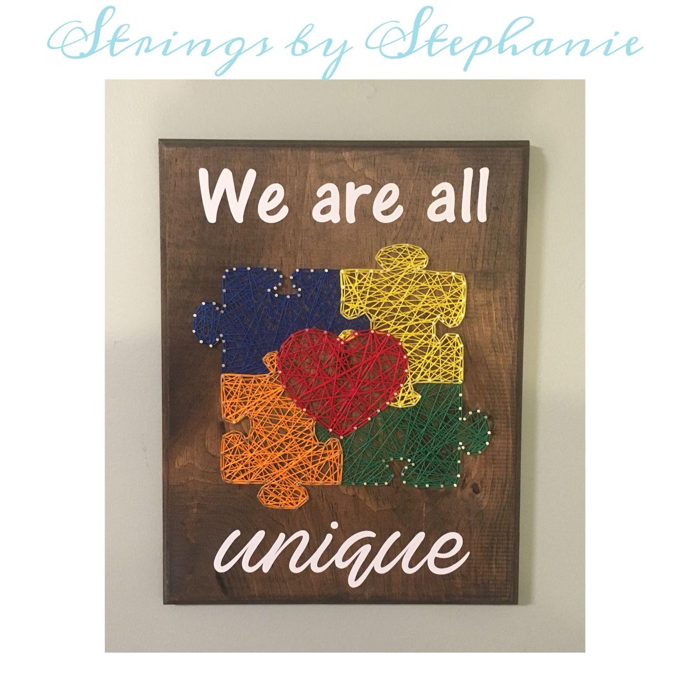 Autism puzzle piece string art