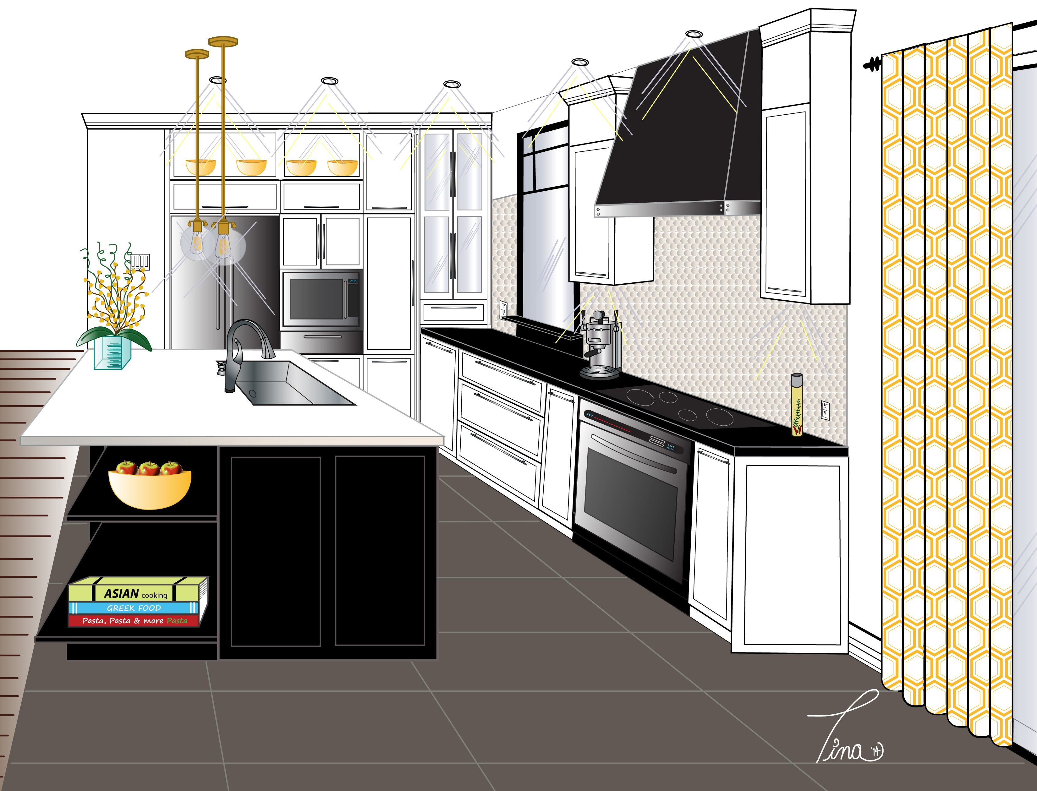 2 Point Perspective Contemporary Kitchen Final Rendering Perspective Drawing Pinterest