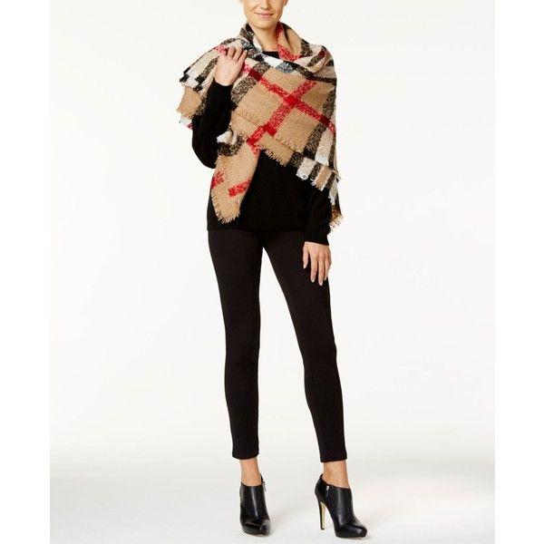 Charter Club Plaid Boucle Square Blanket Scarf, ($59) ❤ liked on Polyvore featuring accessories, scarves, heather camel, plaid shawl, charter club, tartan plaid shawl, tartan shawl and tartan plaid scarves