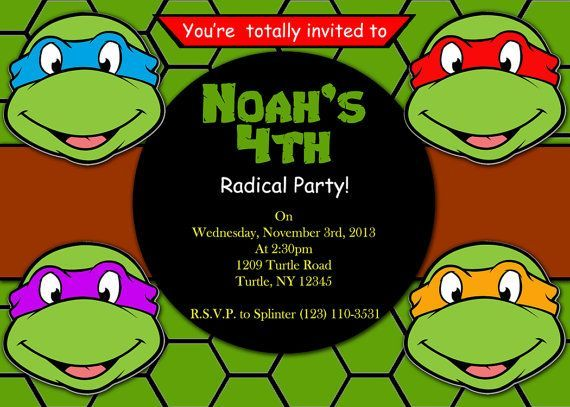 Ninja Turtles Birthday Party Invitations Drevio Invitations