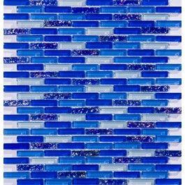 Cobalt Blue Mini Subway Glass Tile Mosaic so pretty but a little