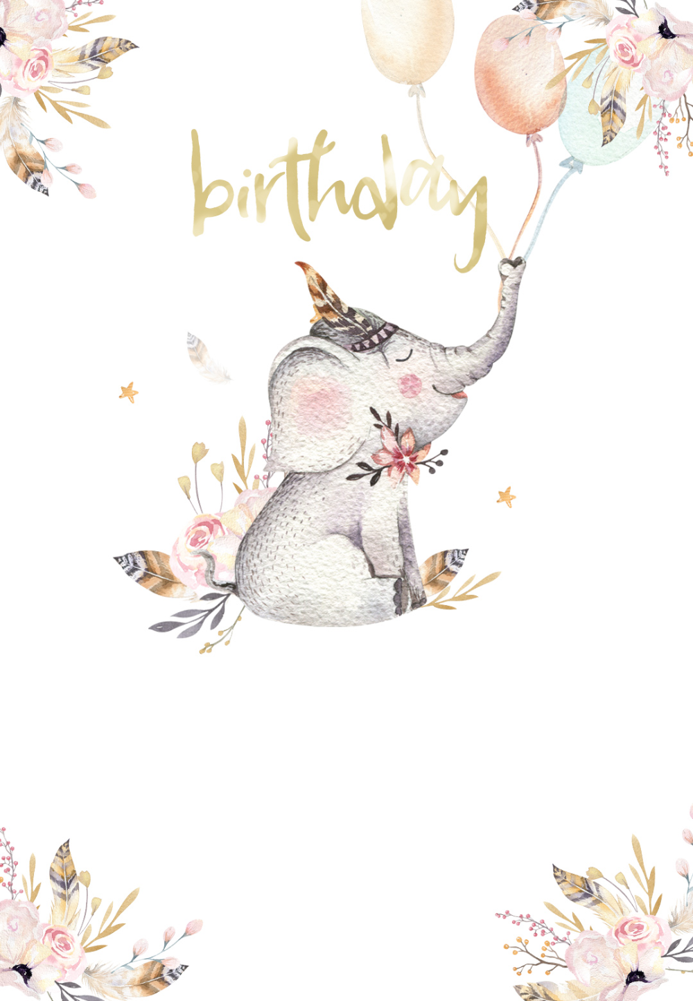 Lovely Elephant - Birthday Invitation Template  Greetings Island