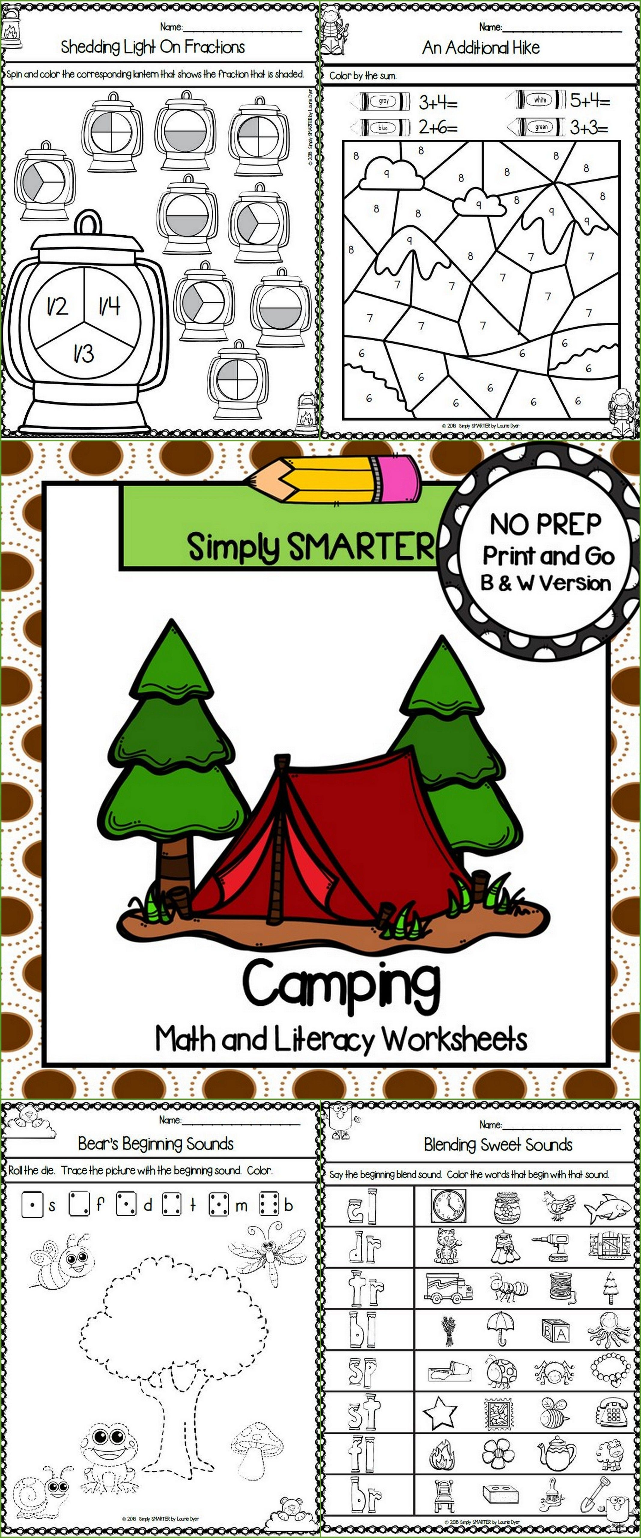 Camping Themed Kindergarten Math And Literacy Worksheets