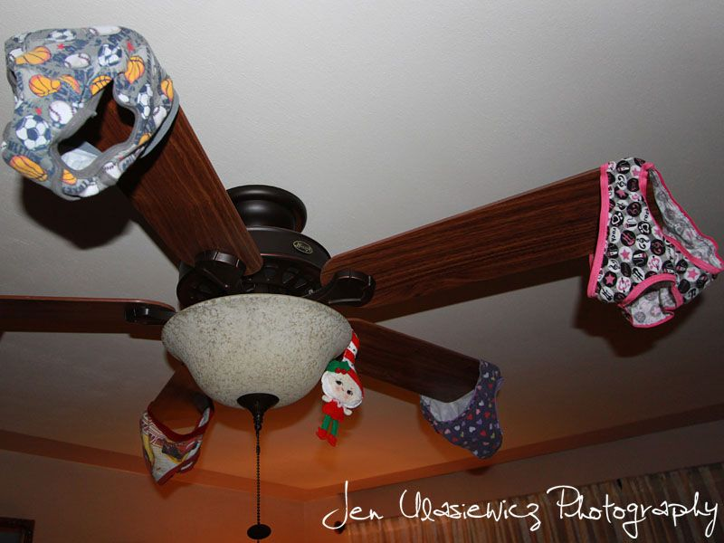 Fiona And Jingle Elf On The Shelf Underwear On Ceiling