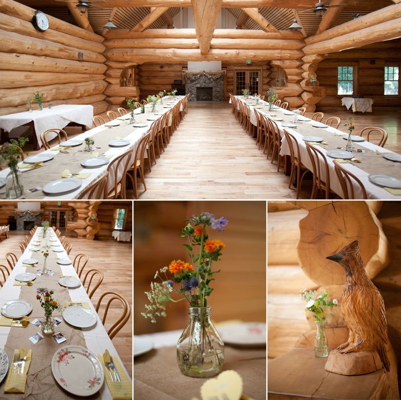 Long table and a log cabin is nice but not really for Cabin wedding venues