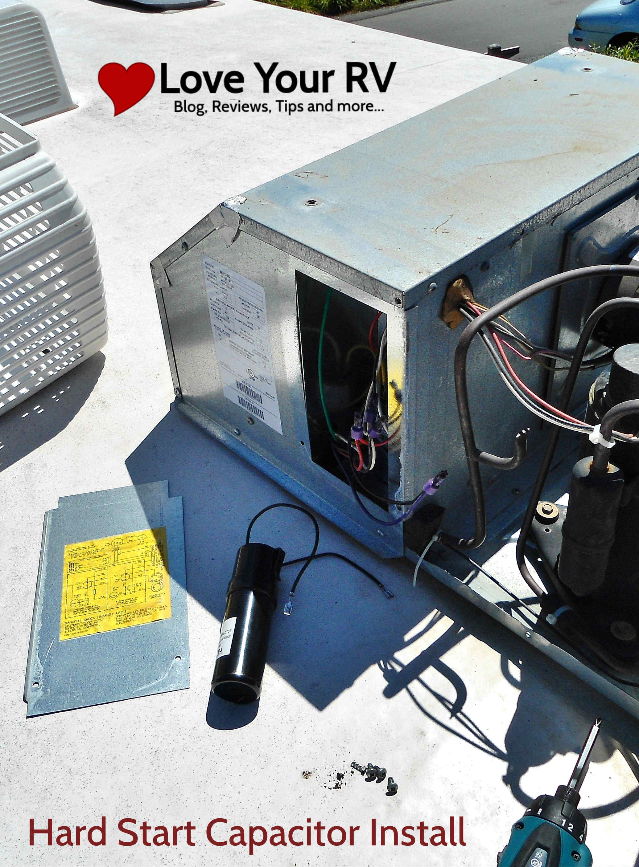 hight resolution of installing a hard start capacitor kit researching it a little more i discovered my rv s roof top air conditioner didn t have the hard start kit but one