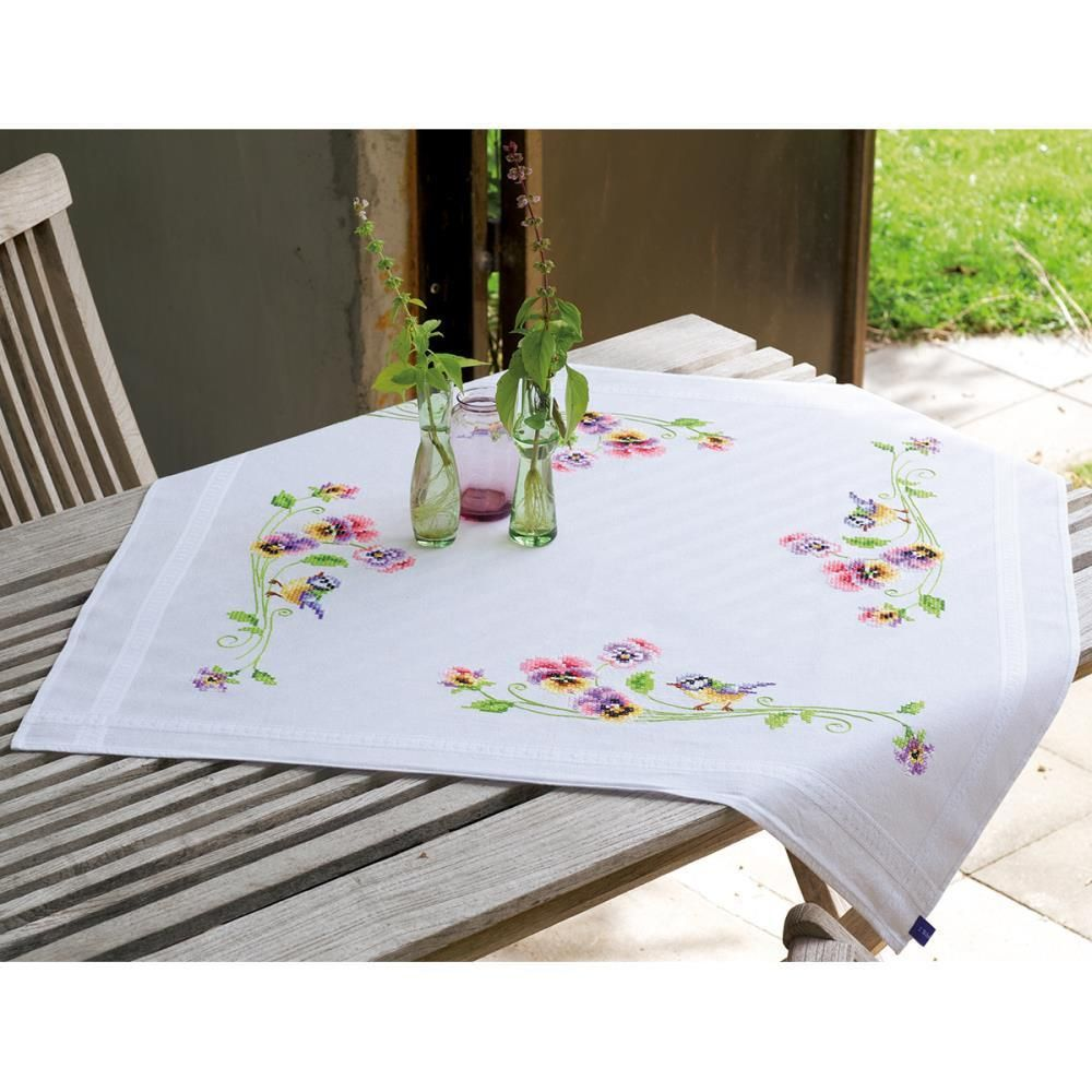 Little Birds And Pansies Tablecloth Stamped Embroidery Kit 32x32