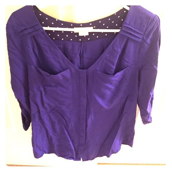 Anthropologie Quarter Sleeve Shirt Beautiful blue/purple quarter sleeve shirt. Brand new without tags. Price is always negotiable! Anthropologie Tops Tees - Long Sleeve