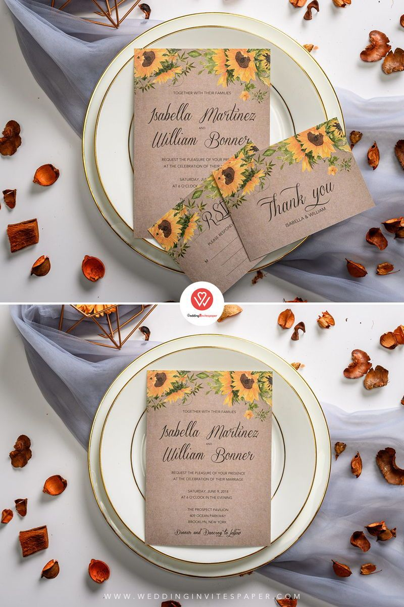 Rustic sunflower wedding invitations, spring summer and