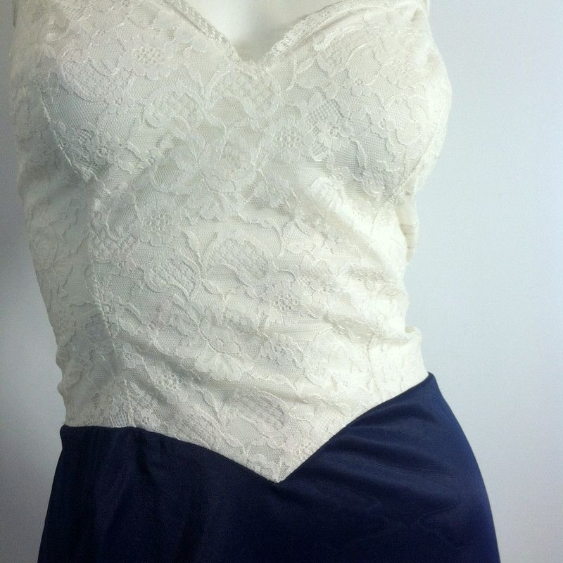 1960s blue nylon suit slip with white lace bodice. By Vanity Fair. No flaws…