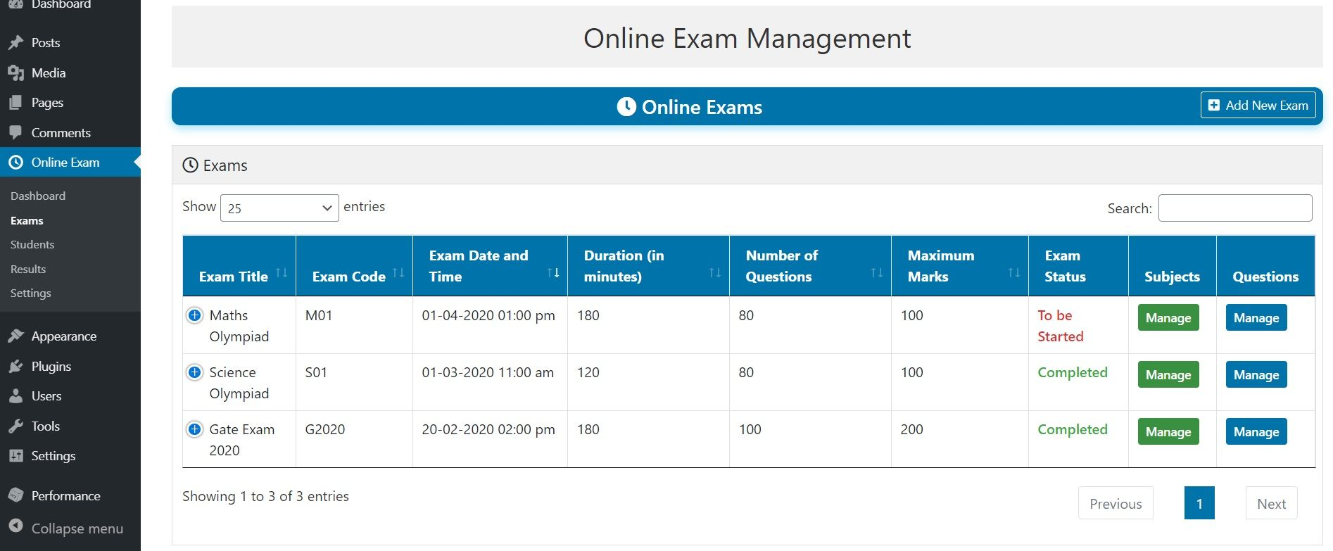 Online Exam Management Education Results Management Exam Student Portfolios Education