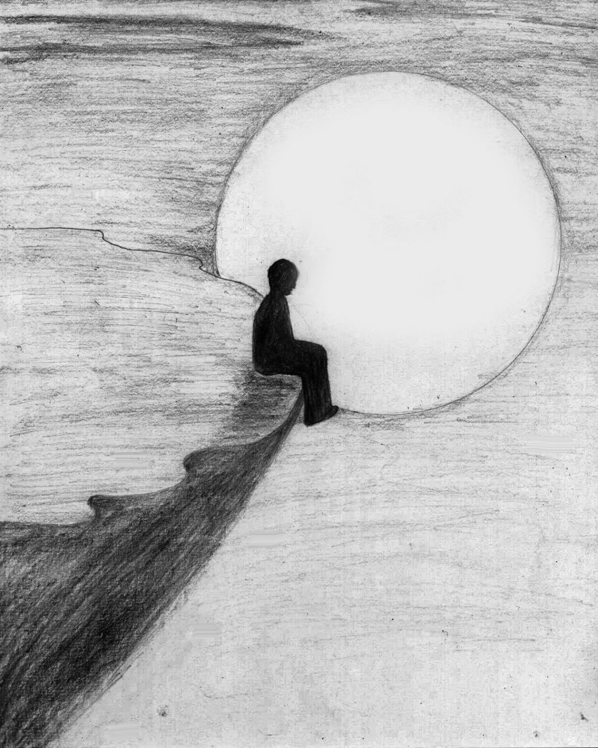 Abstract Pencil Drawing Of Loneliness