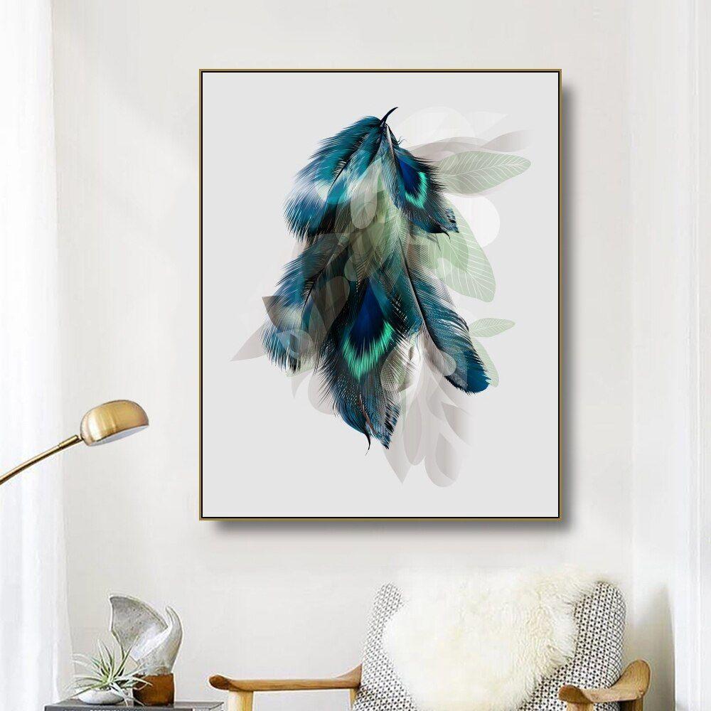 Modern Wall Peacock Poster Abstract Canvas Painting Wall Art Picture Home Decor