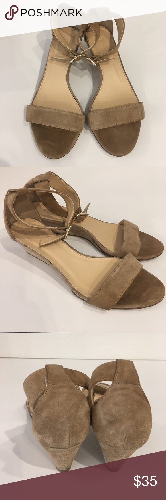 J. Crew Shoes | J. Crew Tan Suede Ankle Strap Low Wedge Sandals 7 | Color: Tan | Size: 7 #lowwedgesandals J. Crew Tan Suede Ankle Strap Low Wedge Sandals 7 J. Crew suede low wedge open toe sandals with ankle strap. Gold buckle on adjustable ankle strap. Tan.  Classic style!  Size: 7 Condition: Pre-owned.  Normal wear, some marks on back of heel and some wear to very edge of toes and inside arch.  Still plenty of life left in these beautiful sandals!   [B-CLO] J. Crew Shoes Sandals #lowwedgesanda #lowwedgesandals