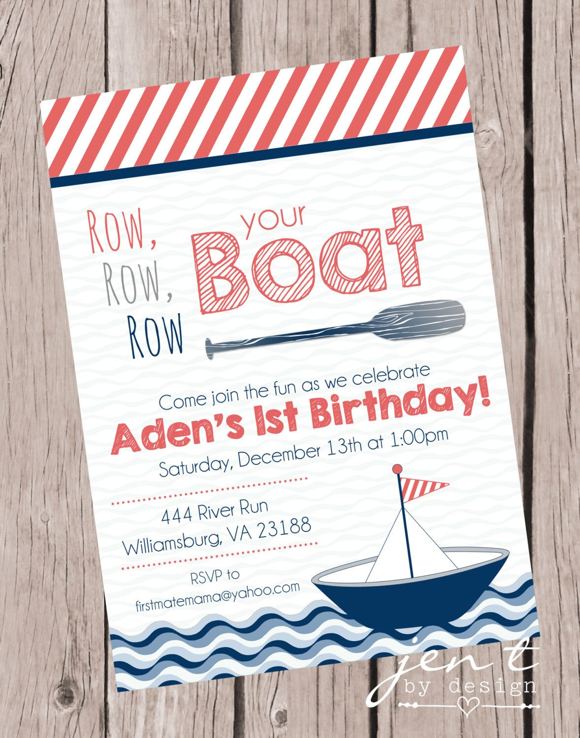 Row Your Boat Invitations First Birthday By JenTbyDesign On Etsy