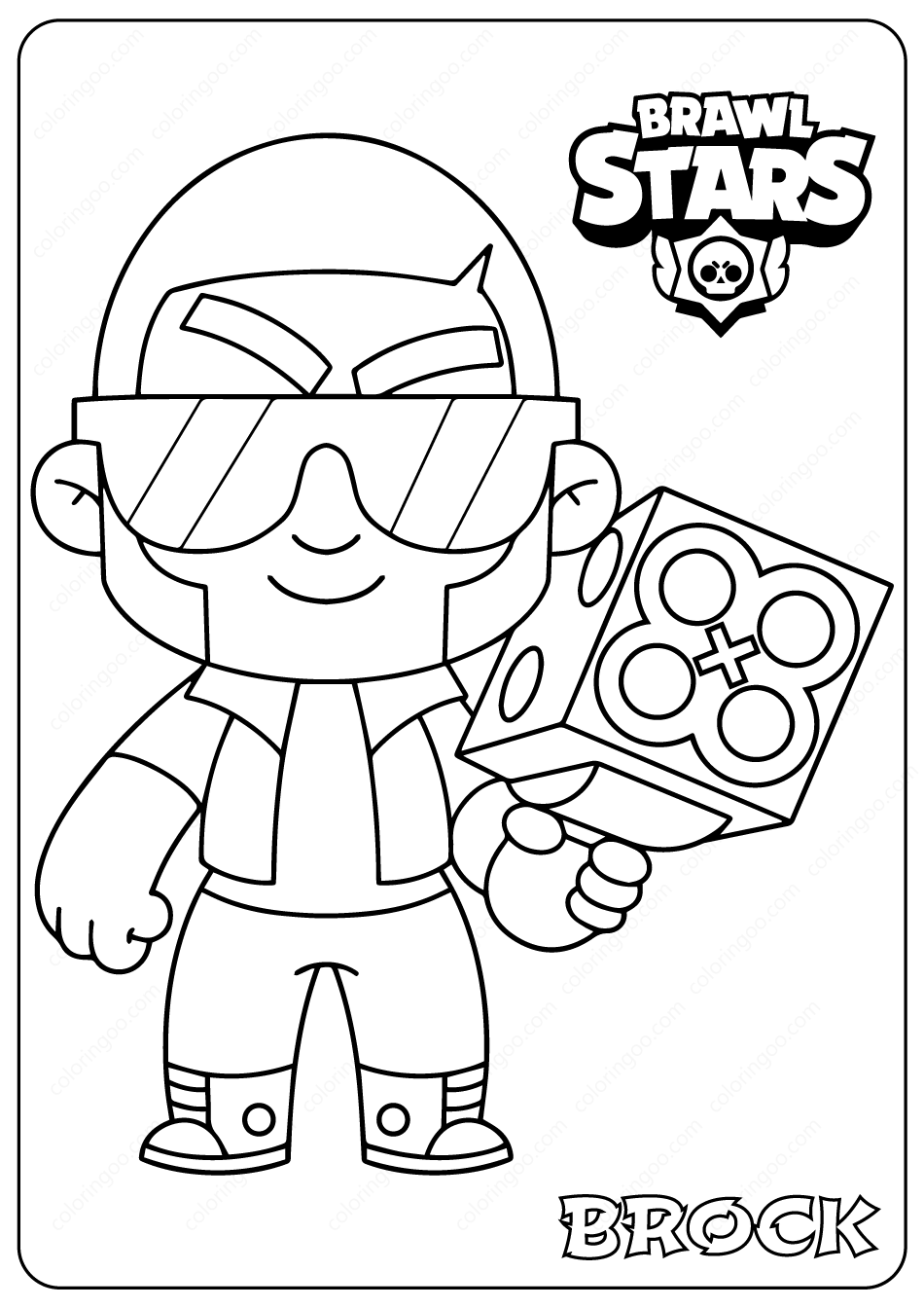 Printable Brawl Stars Brock Pdf Coloring Pages Star Coloring Pages Coloring Pages Star Cards
