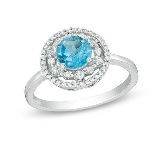 Zales Oval Blue Topaz Split Shank Ring in 10K White Gold BZm10TUR