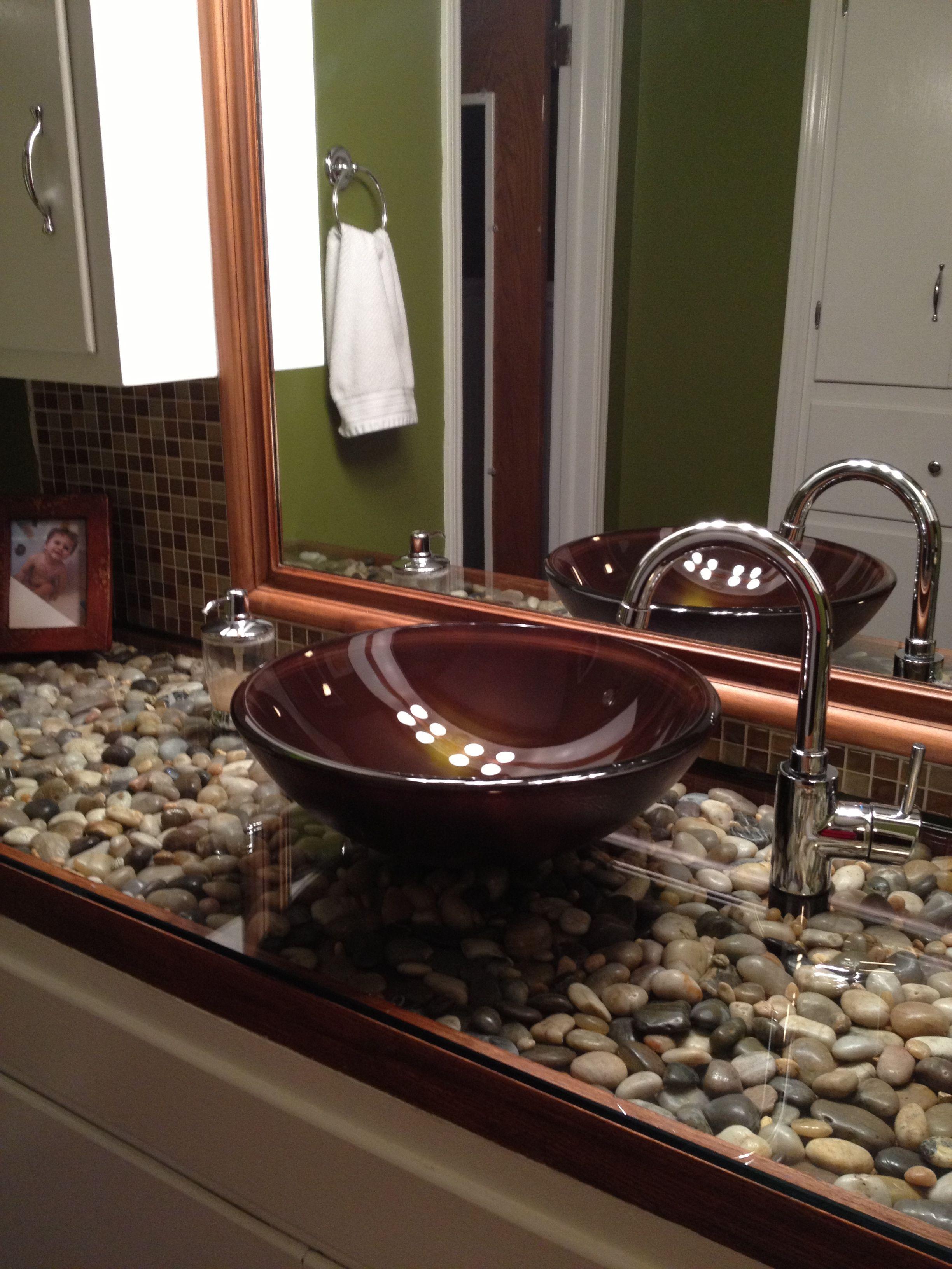 Bathroom River Rock Under Glass Plexiglass I Drop Sht All The