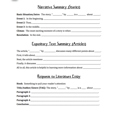 Writing Sentence Frames from Life in Middle School on Teacher\'s ...