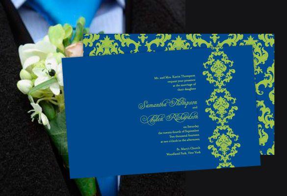 Color Monday Damask Elegance Wedding Invitation Royal Blue Weddingsgreen