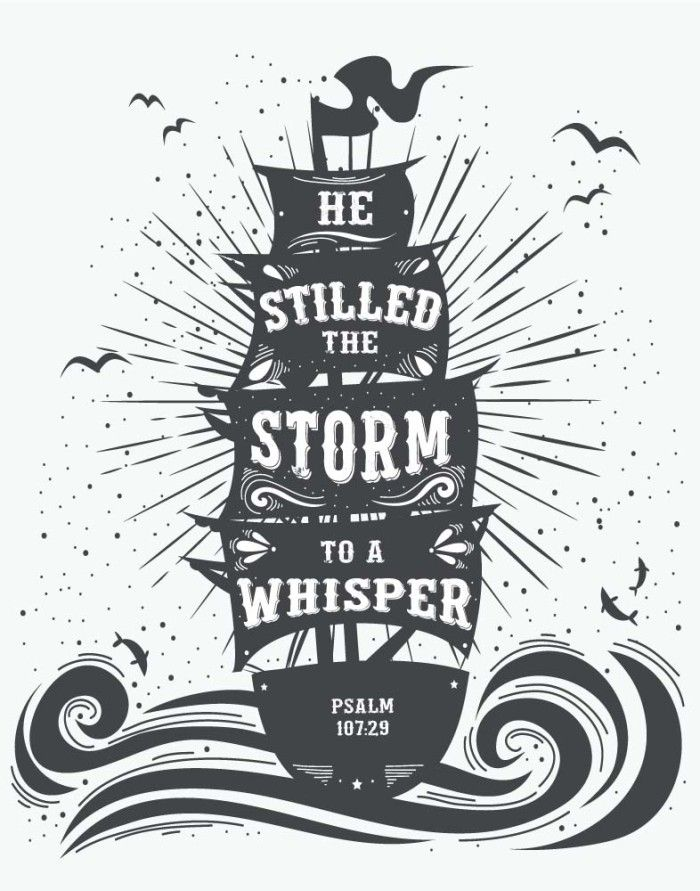 He Stilled The Storm To A Whisper Psalm 10729 Bible Verse Print