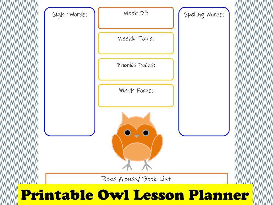 Printable Homeschool Lesson Planner Owl Lesson Planner Elementary Daily Planner Lesson Planner Homeschool Lesson Planner Homeschool Lesson