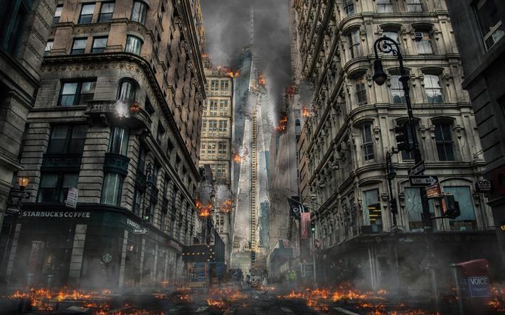 Download Wallpapers Apocalypse 4k Buildings Destruction Skyscrapers America Besthqwallpapers Com City Background Abandoned Cities City