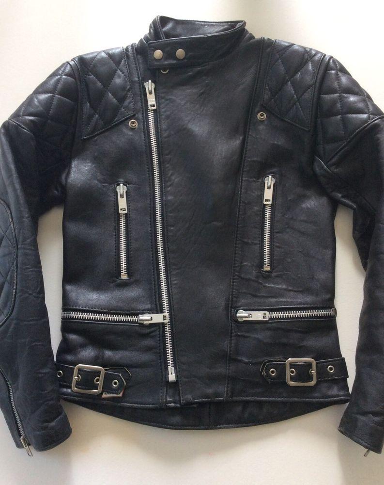 Vintage Scott All Black Mint Leather Biker Jacket 36 Saints Lewis Cafe Racer Ace Cafe Racer Clothing Leather Leather Biker Jacket