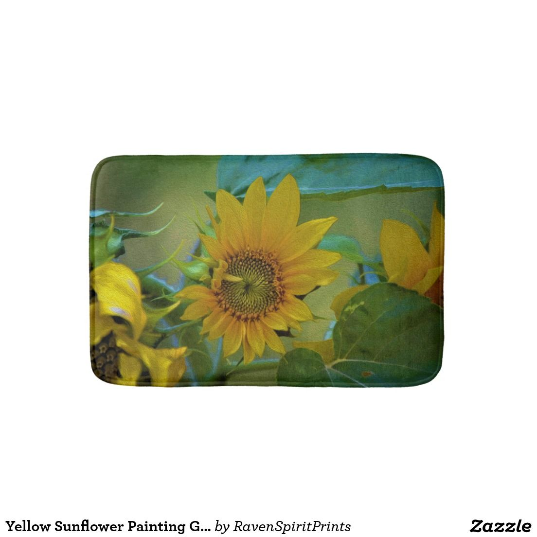 Yellow sunflower painting garden floral art bathroom mat products