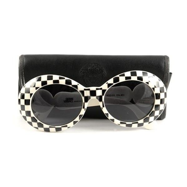 e9d0cc3a2ed2 Gianni Versace Vintage Checkered Sunglasses ($145) ❤ liked on Polyvore  featuring accessories, eyewear, sunglasses, black and white checkered  sunglasses, ...