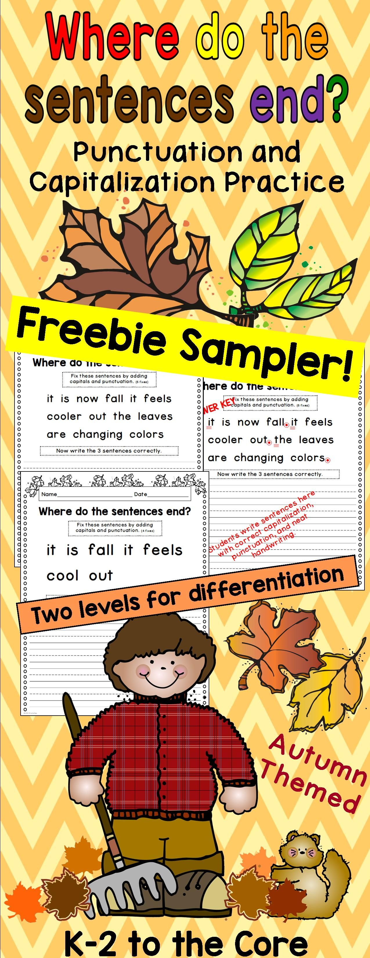 Writing Capitalization And Punctuation Practice Free Fall