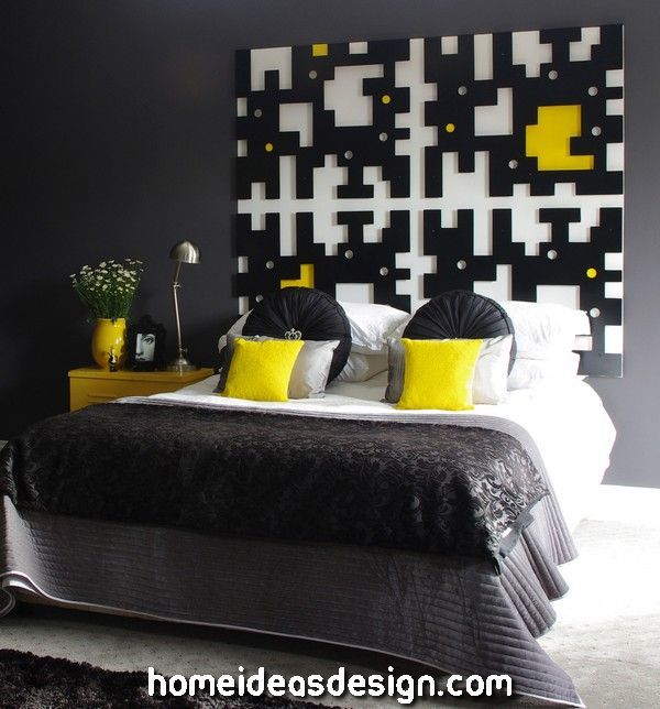 Bed Interior Design Inspiring Home Design In Yellow Black And White Color Cozy Bedroom Design Bedroom Interior Interior Design Bedroom
