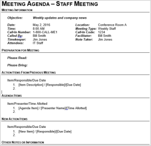 sample of agenda for staff meeting