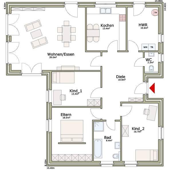 Bildergebnis für grundrisse bungalow 140 qm | Living | Pinterest ...