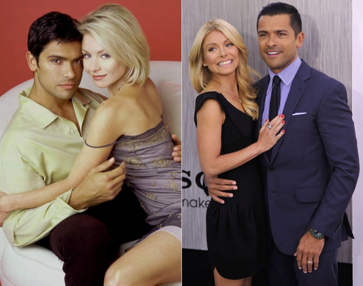 Kelly Ripa & Mark Consuelos then and now