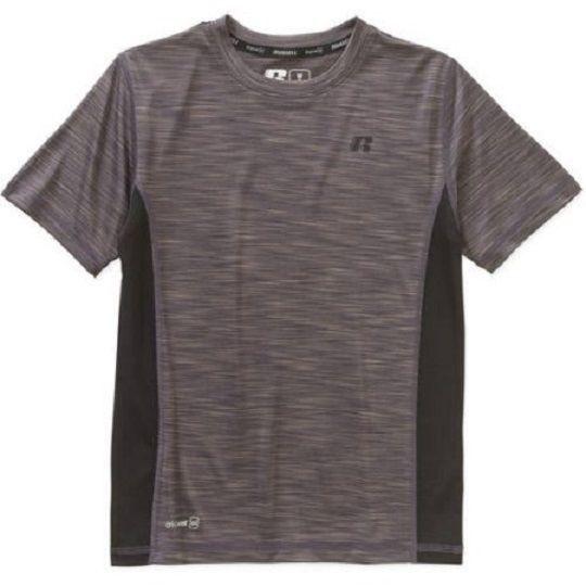 Russell Boys' Short Sleeve Color Blocking Teem, Grey Granite, XL 14-16